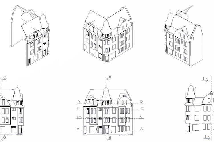 Fertige 2D Pläne der Fassade zur Dokumentation und Weiterverarbeitung